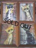 60s GIG Vintage Big Eyes Art Cats 4pc Set (PJ254)