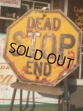 Vintage Road Sign Yellow Embossed Stop Dead End (AL424)